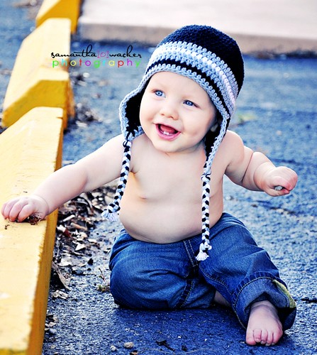 Baby Boy Earflap Hat, black, silver gray, white, natural cotton, | by capsofgrace