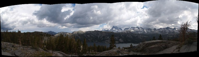 Panorama view south from our campsite above Waugh Lake