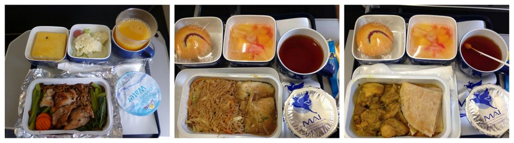 MAI inflight meal. rom left: Chicken noodle, Fish bee hoon and Chicken prata