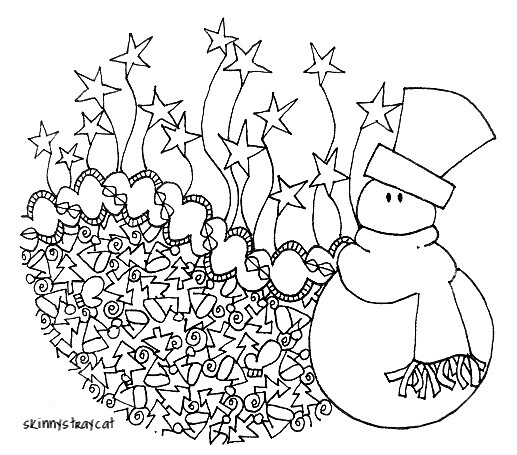 Mr Snowman On Christmas Is Getting Cold Coloring Page: 4in X 3in. Ink On Paper. Oh No! Mr Snowman