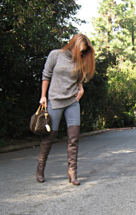 Otk Boots With Jeans And A Sweater Red Highlights Reddish