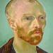 van Gogh, Self-Portrait Dedicated to Paul Gauguin, detail of head