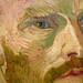 van Gogh, Self-Portrait Dedicated to Paul Gauguin, detail of face
