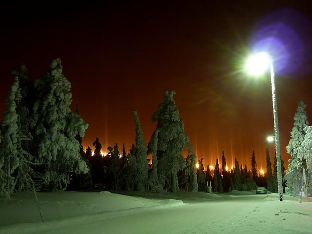 Pilares de hielo en Laponia.