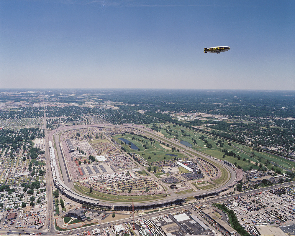 Aerial view of the 1994 indianapolis 500 cool shot for The indianapolis motor speedway