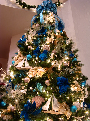 Christmas Tree Blue And Silver Theme : Blue ocean themed christmas tree this