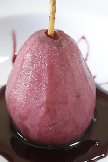 pear poached in red wine | by Madison Bistro