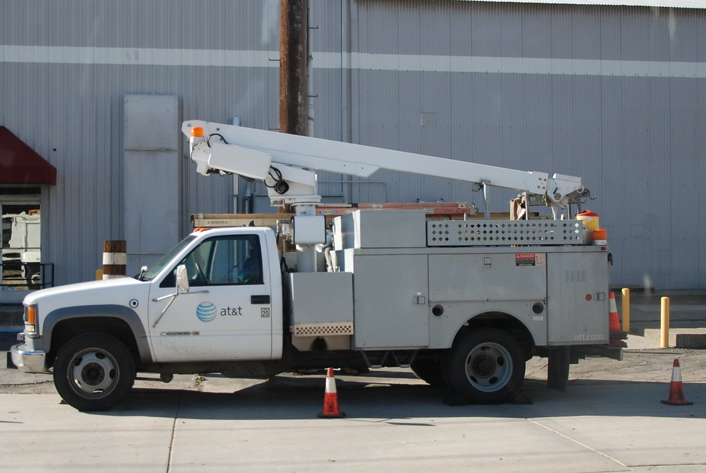 At Amp T Chevy Utility Truck With Overcenter Aerial Device