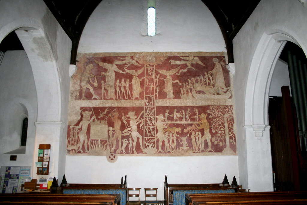 Mural from circa 1200 ad in chaldon church phil flickr for Chaldon church mural