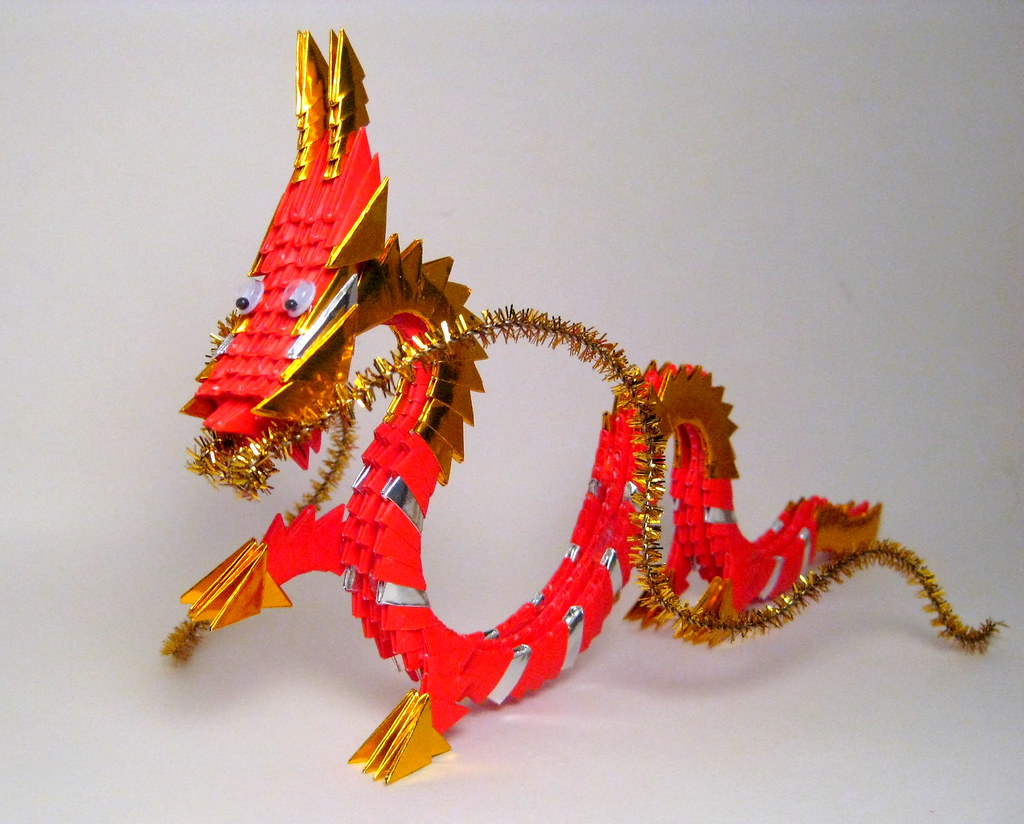 Red Dragon 3D Origami Sculpture (side) | I wasn't sure if ... - photo#11