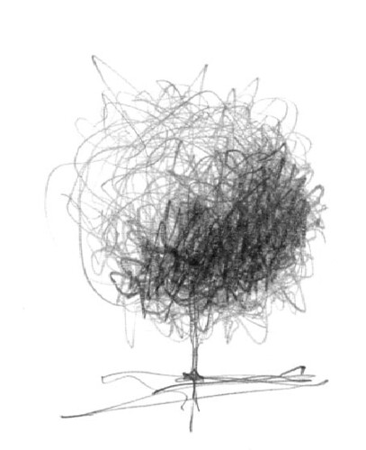 Scribble Sketch Drawing : Doodle tree pencil while i was talking on