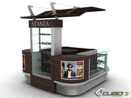 Isla comercial con vitrina y mostradores concepto - Disenos de mostradores ...