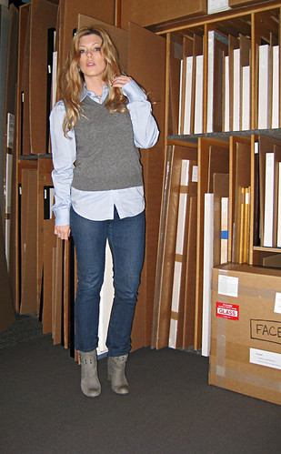 sweater vest and jeans and boots+outfit+art storage+at the gallery+strawberry blonde hair | by ...love Maegan
