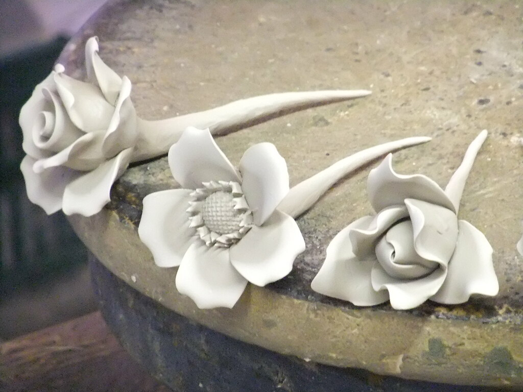 Pottery Flowers Taken At The Gladstone Pottery Museum In