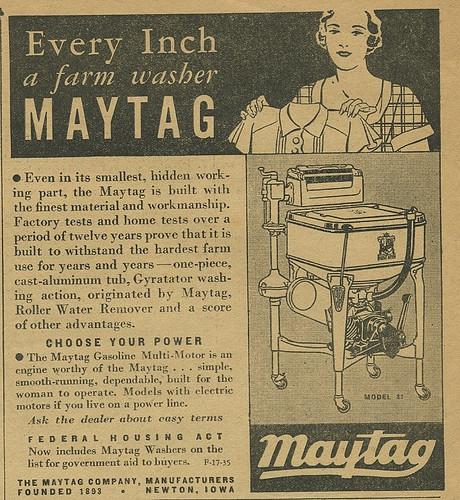 1933 Maytag Washing Machine Newspaper Advert Courtesy Of