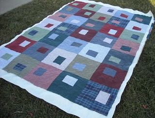 shirt quilt, quilting finished | by vickivictoria