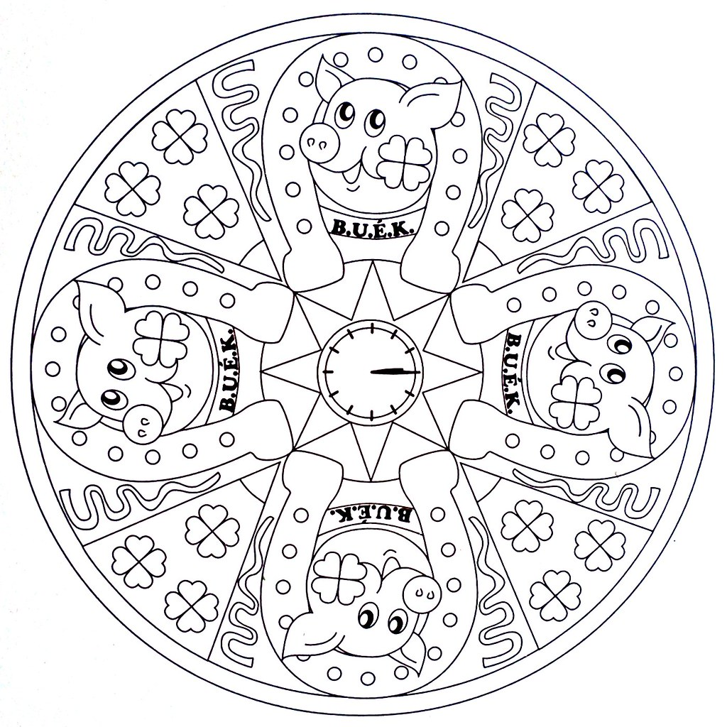 Mandala Coloring Page Lucky New Year moldovancsaba