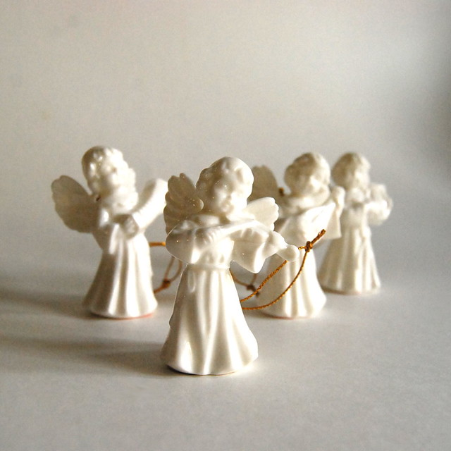 Vintage porcelain christmas angel ornaments from gift