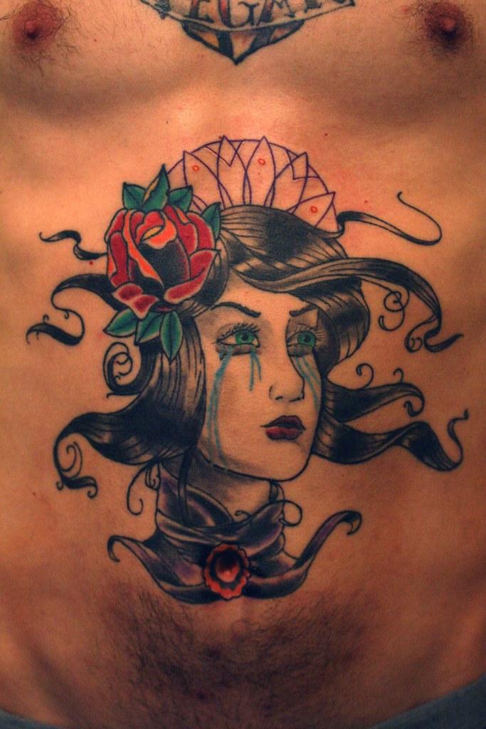 Traditional ish victorian pin up tattoo tattoo was done for Traditional pin up tattoos