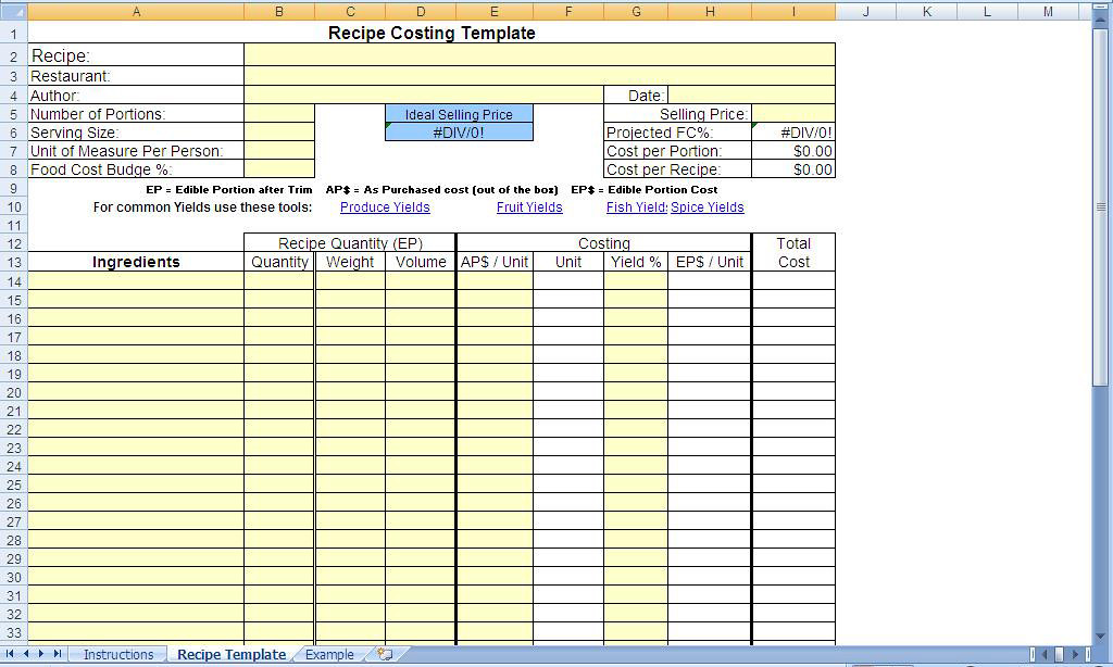 recipecostingtemplateblank by chefs resources plate