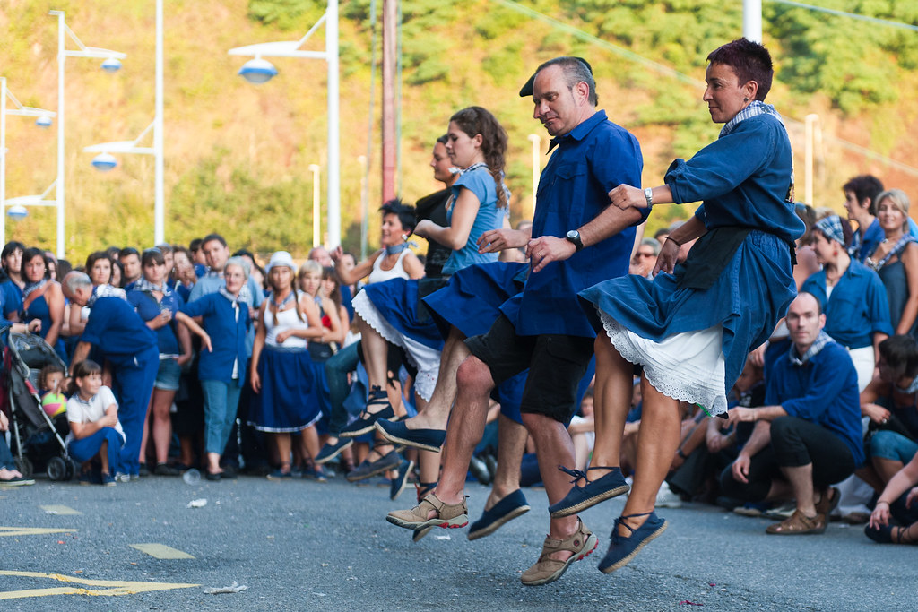 A traditional Basque dance performed as part of the Fiesta ...