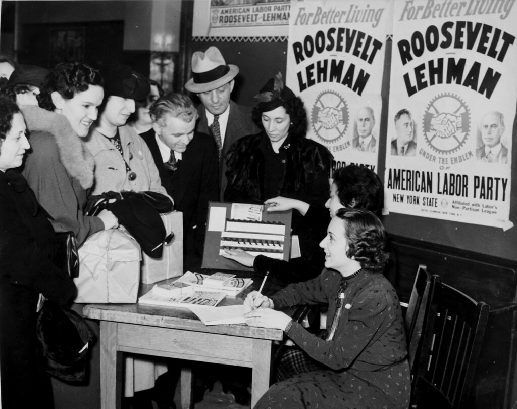 voter registration table surrounded by american labor part