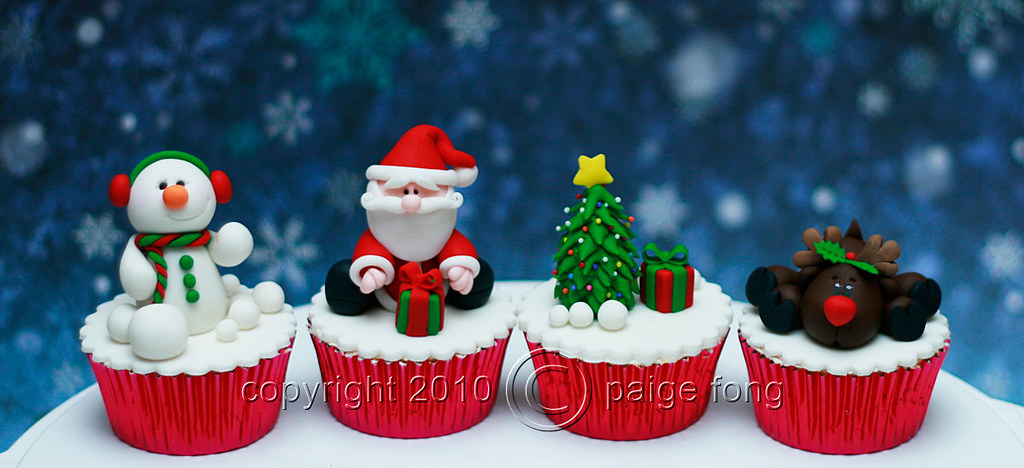 Cup Cake Toppers For Christmas
