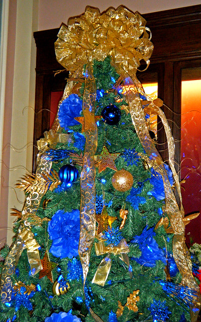 Blue and gold christmas tree flickr photo sharing