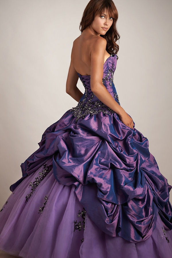 Plum Purple Ballgown With Full Tulle And Taffeta Skirt Wit