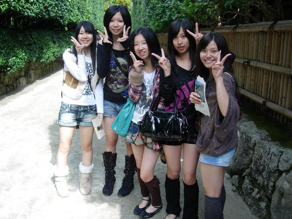 school girls flashing