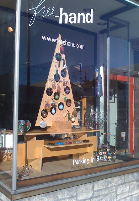 Freehand window display with plywood tree flickr photo for Plywood christmas tree