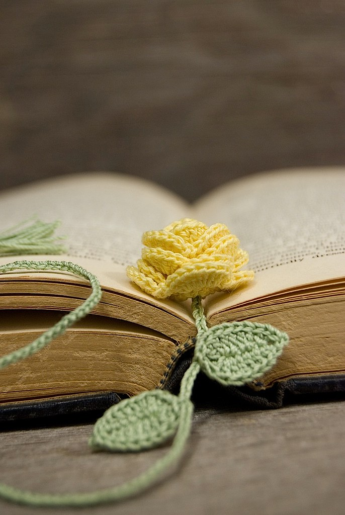Knitting Pattern For A Book Marker : Crocheted Yellow Rose Bookmark A lovely yellow rose bookma? Flickr