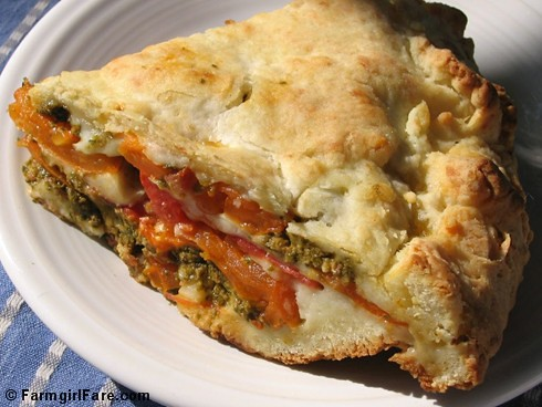 Savory Tomato Basil Pesto Pie with a Foolproof Biscuit Crust | by Farmgirl Susan