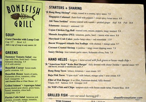 Bonefish Restaurant Menu