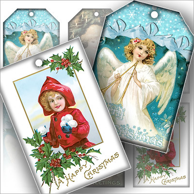 FREE Vintage Christmas greeting gift tag set printable col… | Flickr