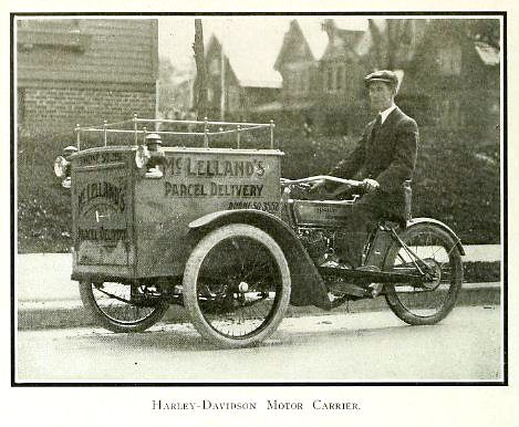vintage photograph of harley davidson motor delivery tricy