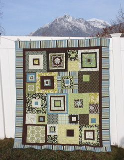 modern squares quilt blue green brown | by amy smart