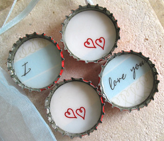 4 Simply Romantic- I Love You- Up Cycled Bottlecap Magnets with Light Blue Organza Bag | by BeansThings
