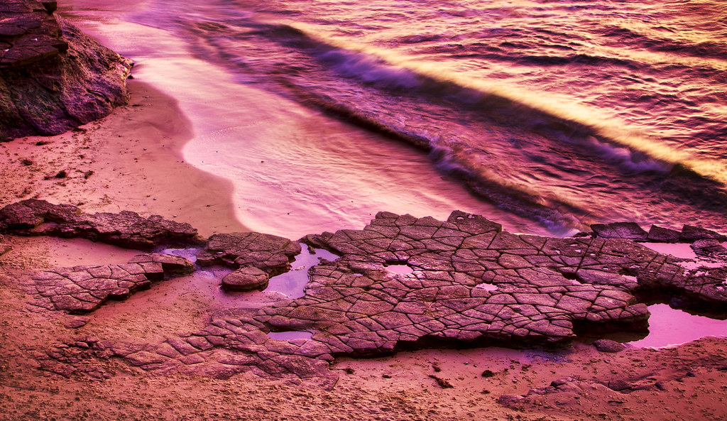 Purple Afterglow Flat Rocks On The Beach Sunset Cliffs