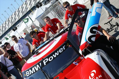 The #02 car is rolled to the fuel pumps | by IndyCar Series
