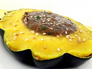 Acorn Squash With Sesame Parsley Sauce | by CinnamonKitchn