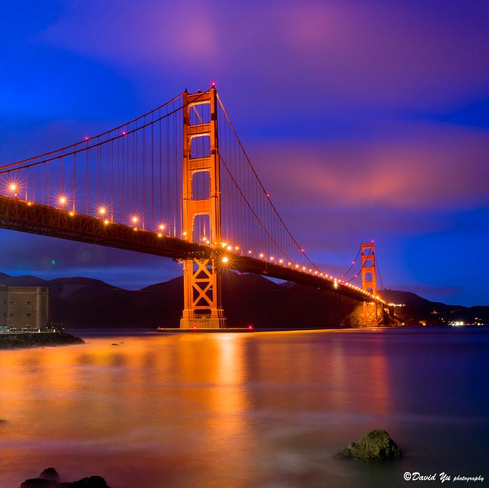 San Francisco Golden Gate Bridge Twilight Blue Moment With