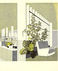 """The Restaurant illustrated by Gordon Cullen - from """"London Airport, Official Guide, 1956"""""""
