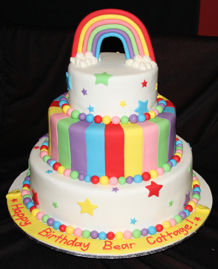 rainbow 3 tier birthday cake I made this cake for a charit Flickr