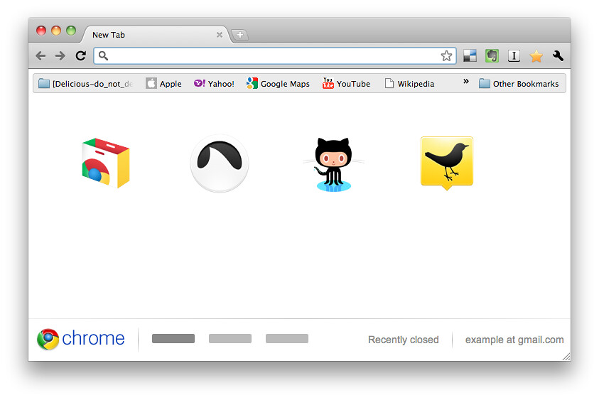 Google Chrome New Tab Page Design