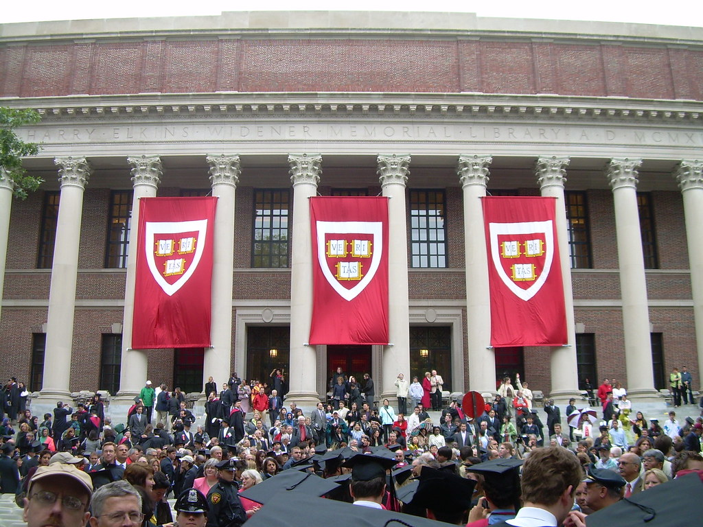 Harvard Commencement Flags On Widener And The 2008