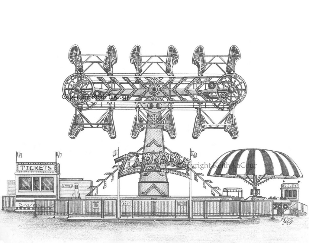 Zipper Carnival Ride Pencil Drawing Pencil Drawing By