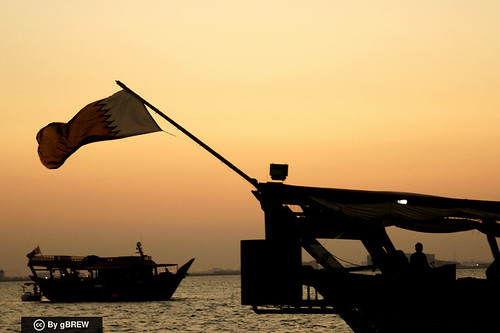 Traditional dhow boat with Qatar's flag (Doha, Qatar) | by Ginger Brew @gbrew