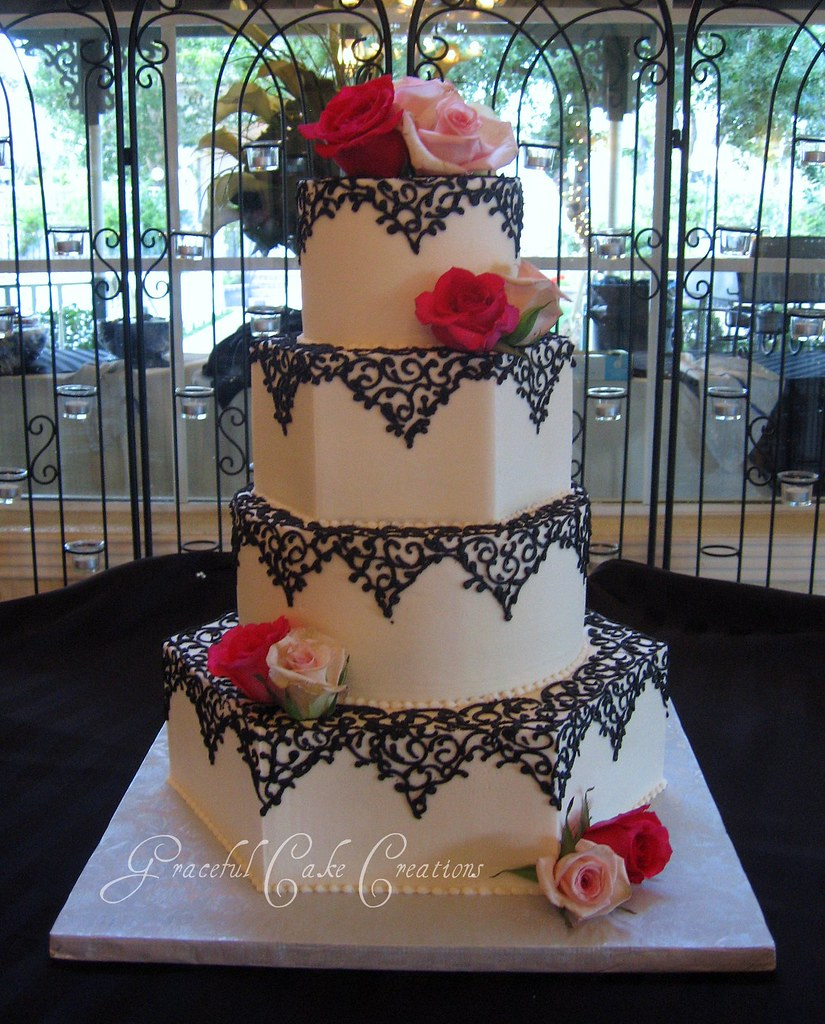 black and white lace wedding cakes ivory hexagon wedding cake with black lace design grace 11837