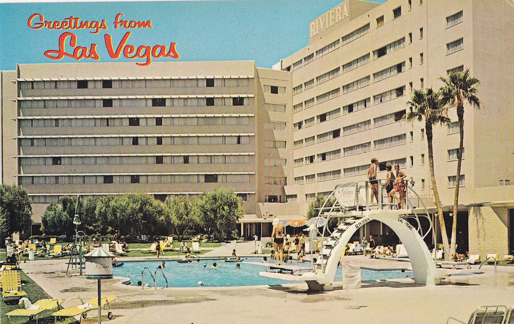 Riviera hotel las vegas postcard back of postcard reads for Riviera resort las vegas